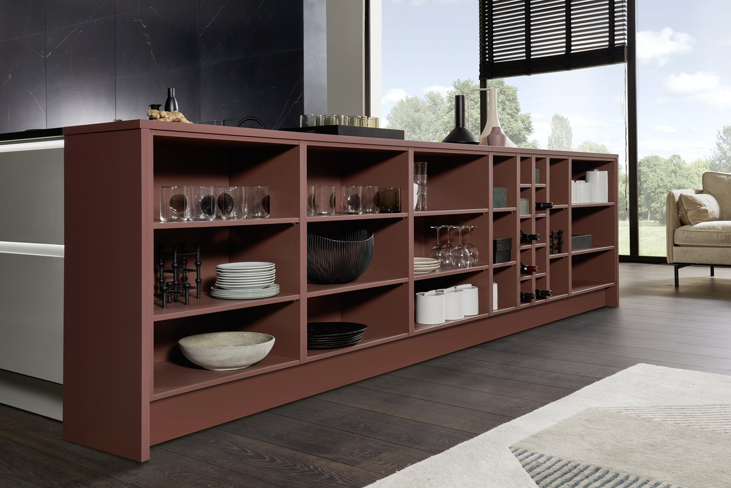 A great eye-catcher: open shelf units